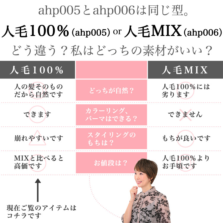 ahp005とahp006は同じ型。人毛100%(ahp005)or人毛MIX(ahp006)どう違う?私はどっちの素材がいい?