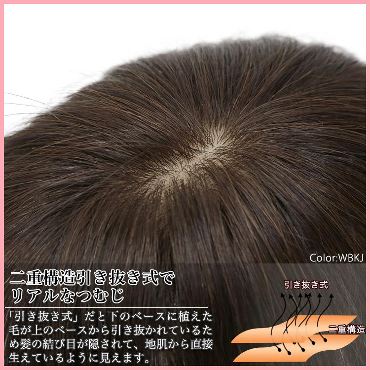 二重構造引き抜き式でリアルなつむじ 「引き抜き式」だと下のベースに植えた毛が上のベースから引き抜かれているため髪の結び目が隠されて、地肌から直接生えているように見えます。