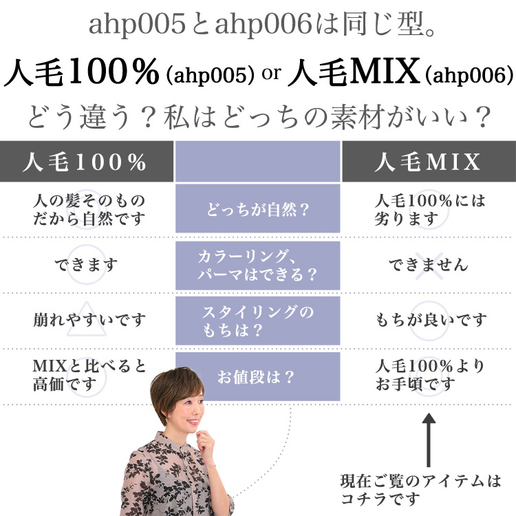 ahp005とahp006は同じ型。人毛100%(ahp005)or人毛MIX(ahp006)どう違う?私はどっちの素材がいい?