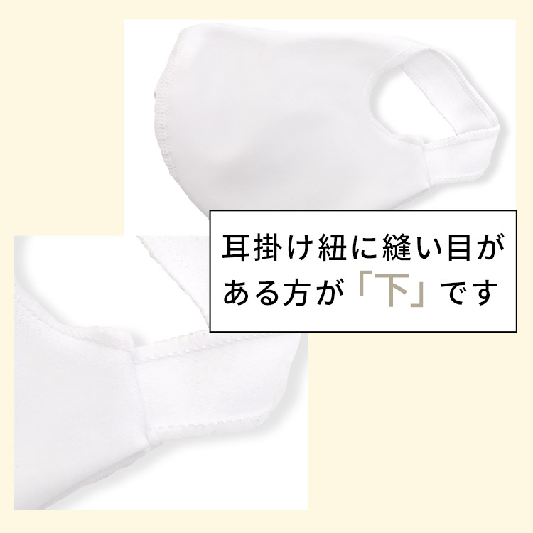 アクアドールのケア用品、洗える伸縮性素材の立体布マスク 耳掛け紐に縫い目がある方が「下」です。