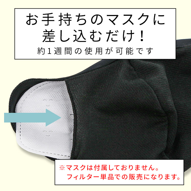 アクアドールのケア用品、マスク用使い捨てフィルターシートはお手持ちのマスクに差し込むだけ!約1週間の使用が可能です!※マスクは付属しておりません。フィルター単品での販売になります。