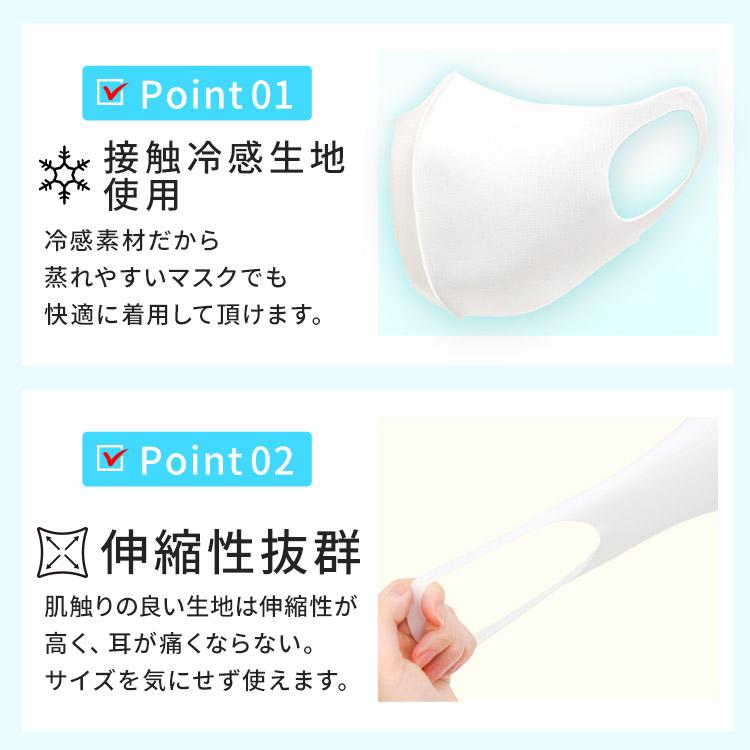 アクアドールのケア用品、洗える伸縮立体マスク Point01.接触冷感生地使用 Point02.伸縮性抜群