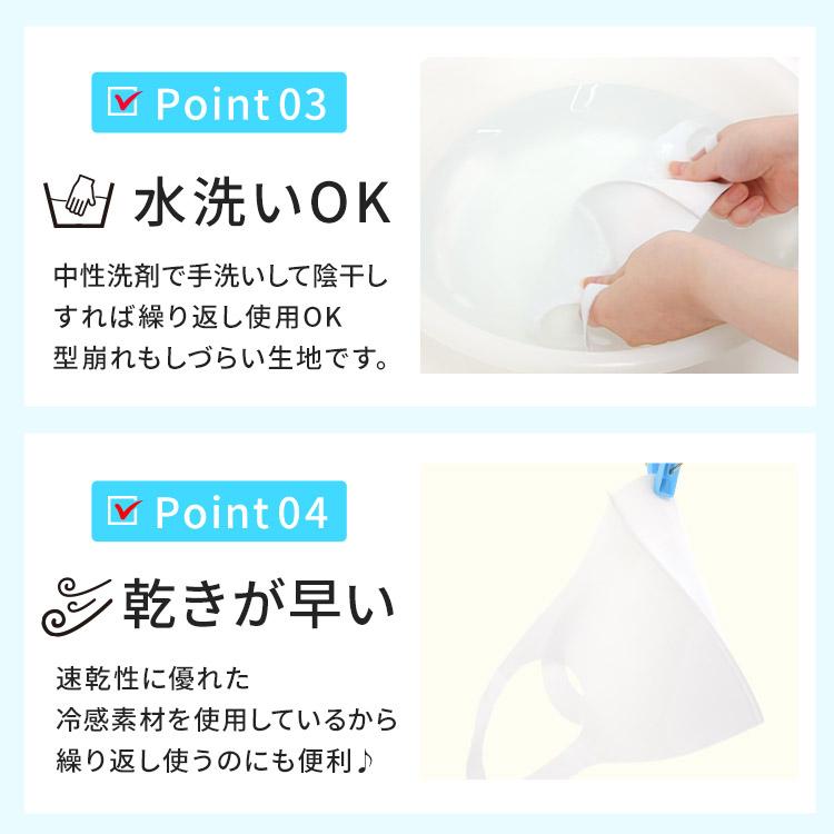 アクアドールのケア用品、洗える伸縮立体マスク Point03.水洗いOK Point04.乾きが早い