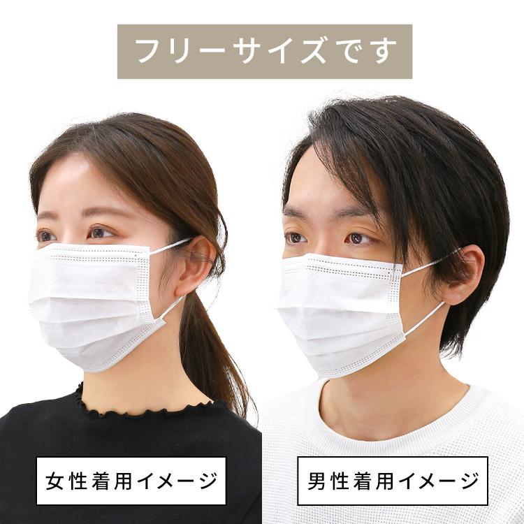 アクアドールのケア用品、50枚入り使い捨て不織布マスクはフリーサイズです 女性・男性着用イメージ