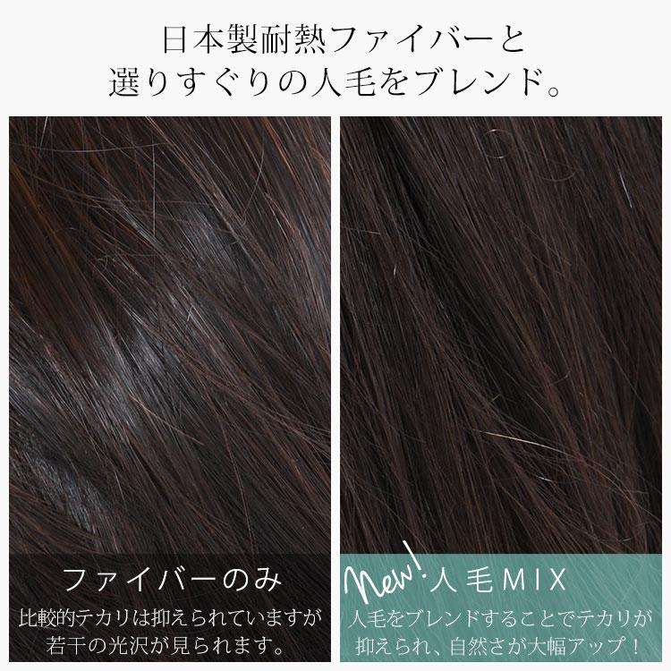 AQUADOLLの人毛ミックス医療用ウィッグは、日本製耐熱ファイバーと選りすぐりの人毛をブレンド。